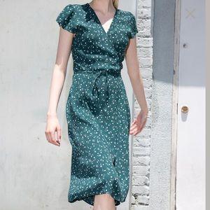 Brandy Melville green floral midi dress